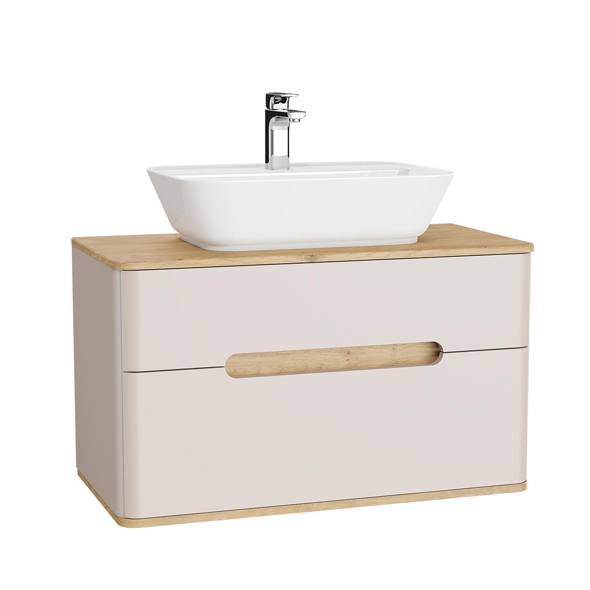 Sento Waschtischunterschrank, 90 cm, für Aufsatzwaschtische, mit 2 Vollauszügen, Crème Matt