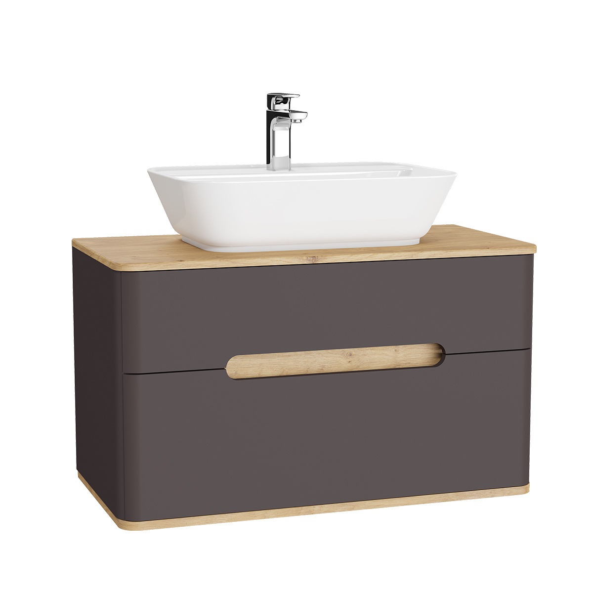 Sento Waschtischunterschrank, 90 cm, für Aufsatzwaschtische, mit 2 Vollauszügen, Anthrazit Matt