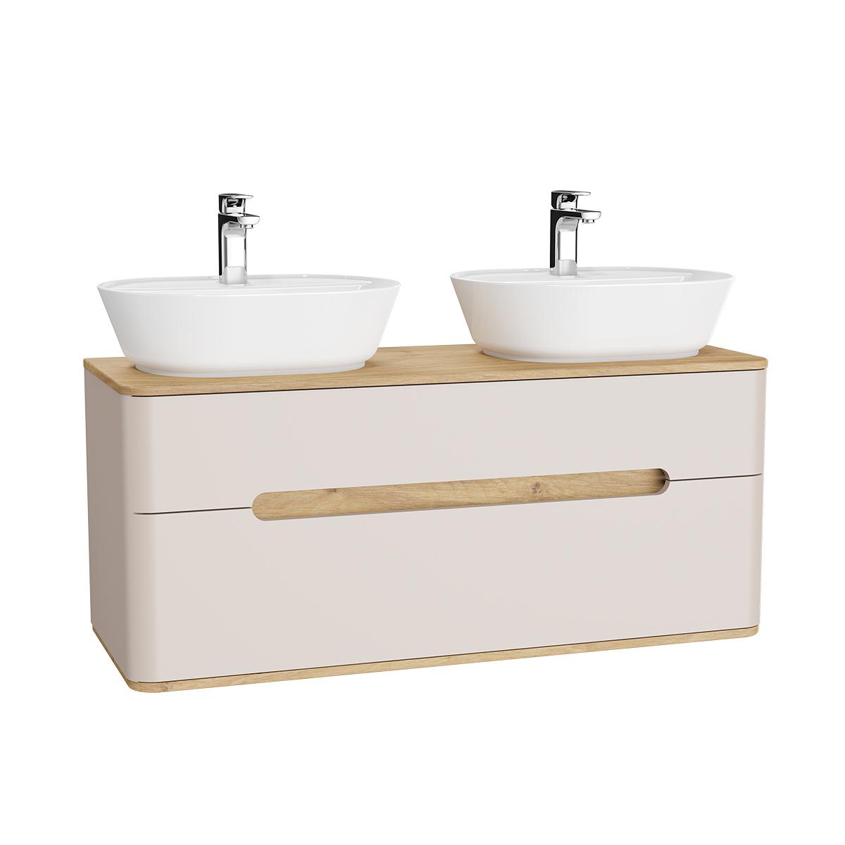 Sento Waschtischunterschrank, 122 cm, für 2 Aufsatzwaschtische, mit 2 Vollauszügen, Crème Matt