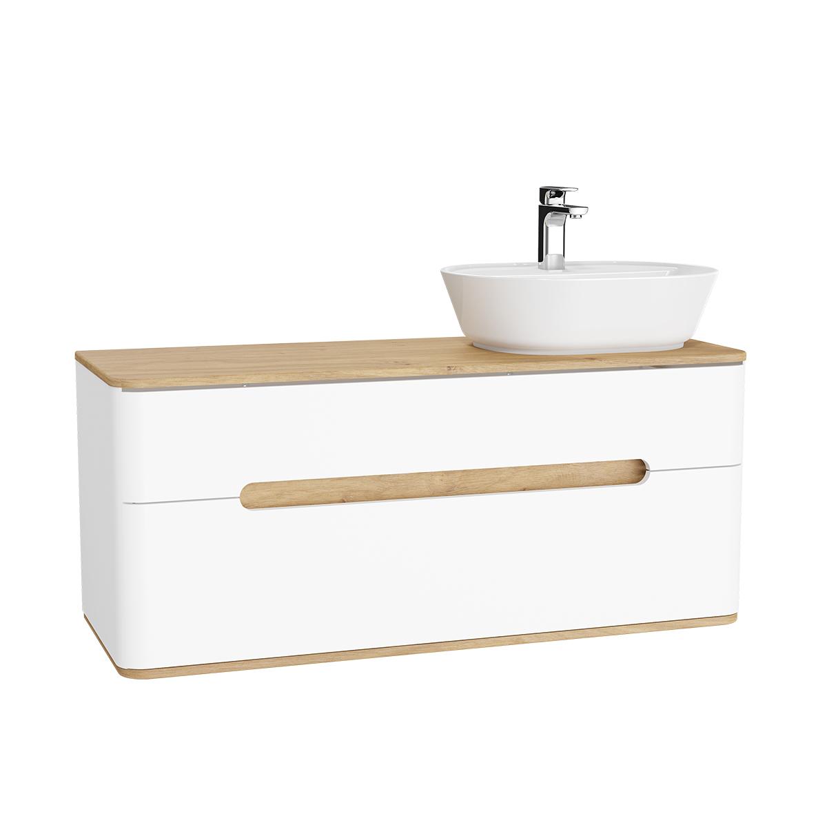 Sento Waschtischunterschrank, 122 cm, für Aufsatzwaschtische, mit 2 Vollauszügen, Waschtisch-Ausschnitt rechts, Weiß Matt