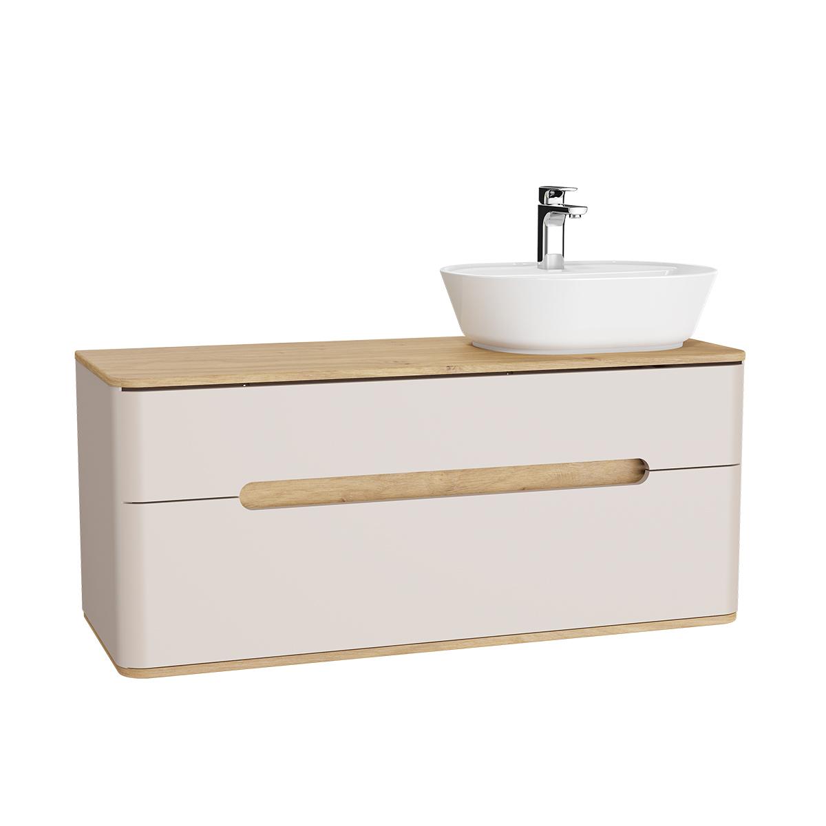 Sento Waschtischunterschrank, 122 cm, für Aufsatzwaschtische, mit 2 Vollauszügen, Waschtisch-Ausschnitt rechts, Crème Matt