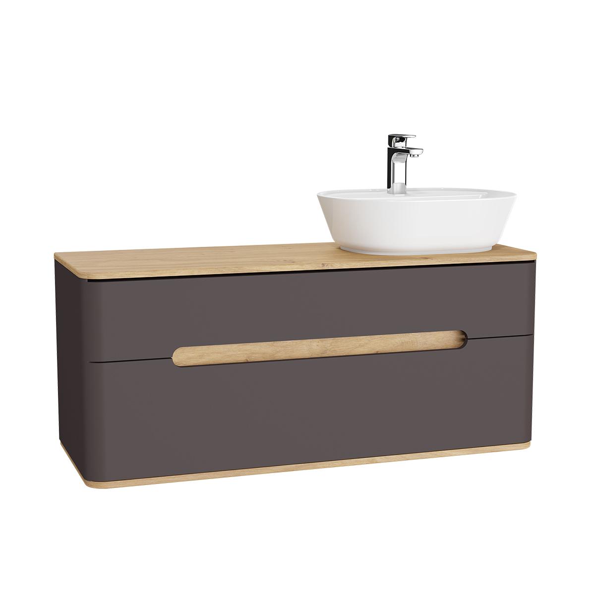 Sento Waschtischunterschrank, 122 cm, für Aufsatzwaschtische, mit 2 Vollauszügen, Waschtisch-Ausschnitt rechts, Anthrazit Matt