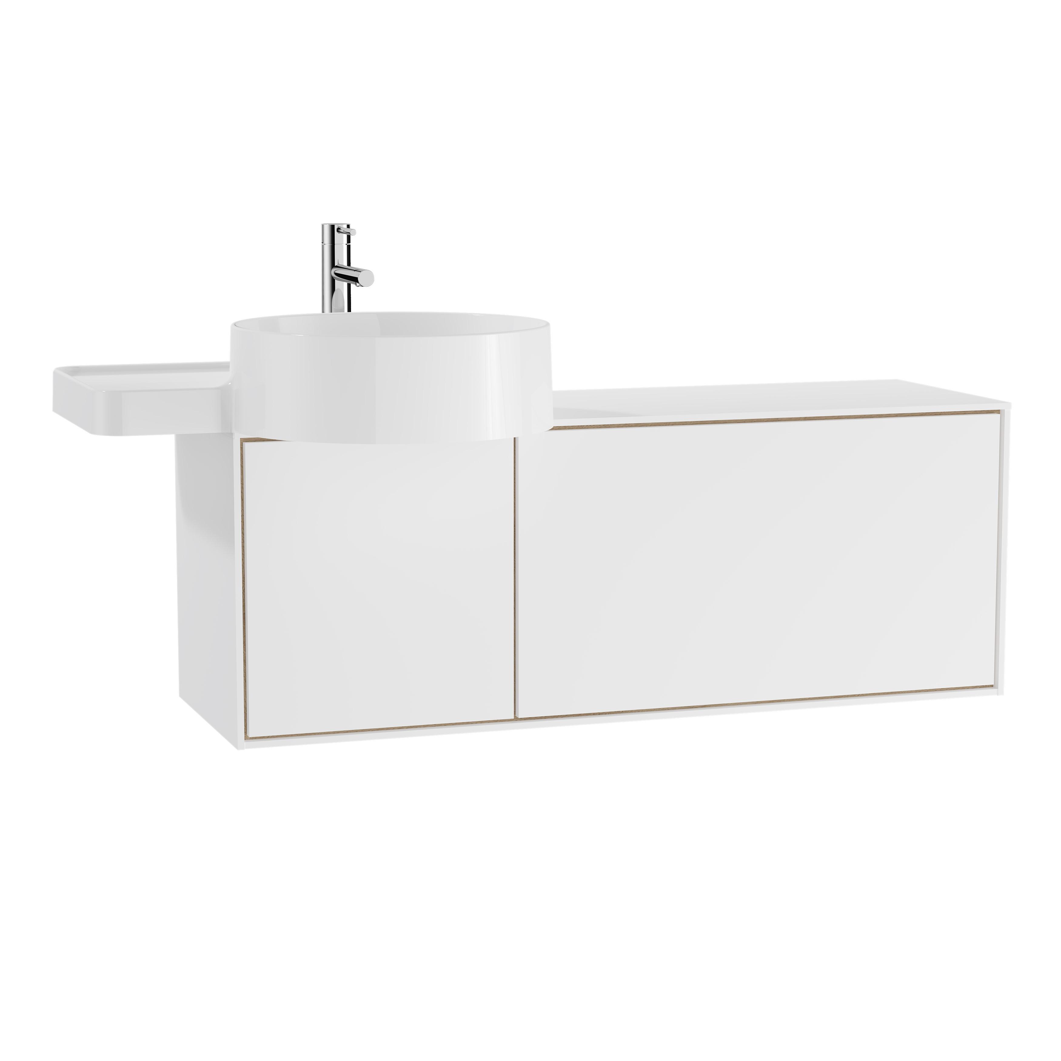 Voyage meuble ss vasque, 100 cm, blanc mat / chêne naturel, gauche