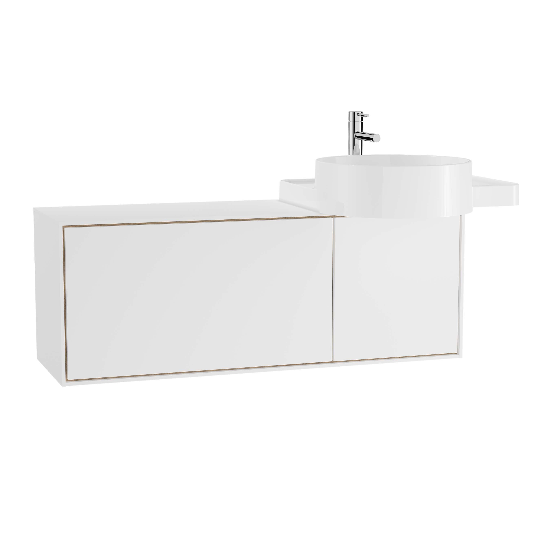 Voyage meuble ss vasque, 100 cm, blanc mat / chêne naturel, droite