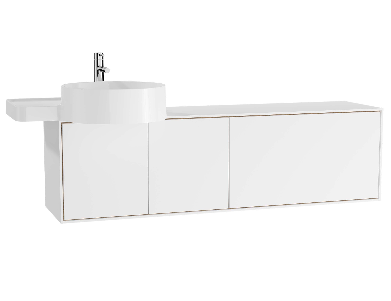 Voyage meuble ss vasque, 130 cm, blanc mat / chêne naturel, gauche