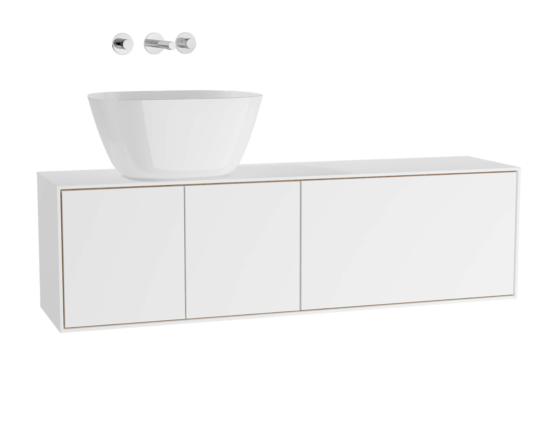 Voyage meuble sous vasque à poser, 130 cm, blanc mat / chêne naturel, gauche