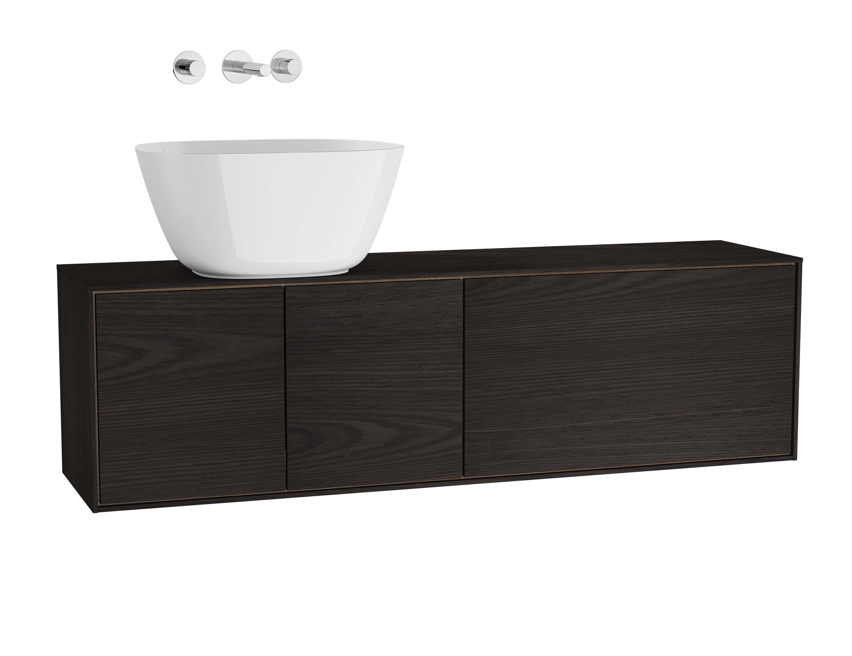 Voyage meuble sous vasque à poser, 130 cm, gris flambé / chêne naturel, gauche