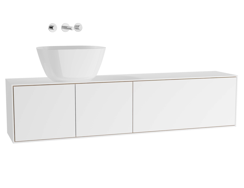 Voyage meuble sous vasque à poser, 160 cm, blanc mat / chêne naturel, gauche