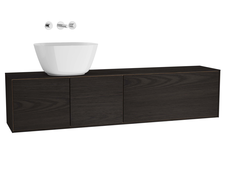 Voyage meuble sous vasque à poser, 160 cm, gris flambé / chêne naturel, gauche