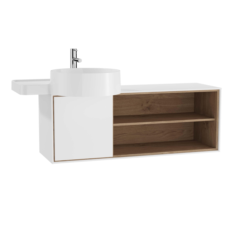 Voyage meuble sous vasque, 100 cm, blanc mat / chêne naturel, gauche