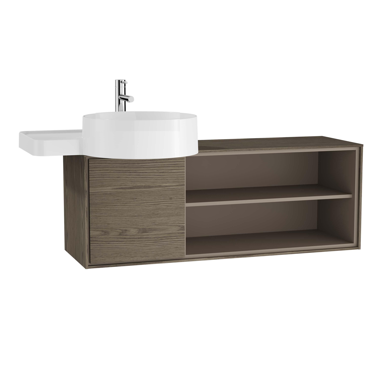 Voyage meuble sous vasque, 100 cm, cordoba / taupe, gauche