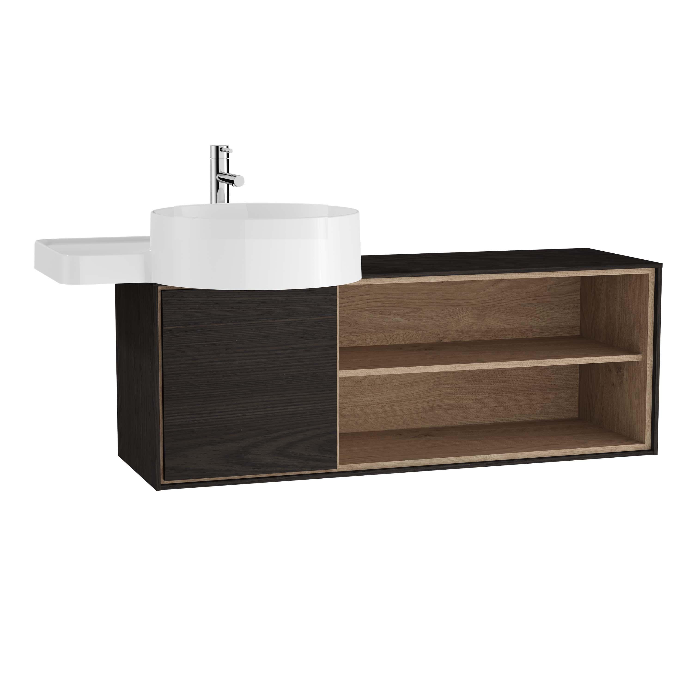 Voyage meuble sous vasque, 100 cm, gris flambé / chêne naturel, gauche