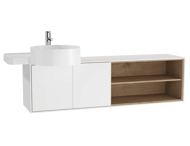 Voyage meuble sous vasque, 130 cm, blanc mat / chêne naturel, gauche