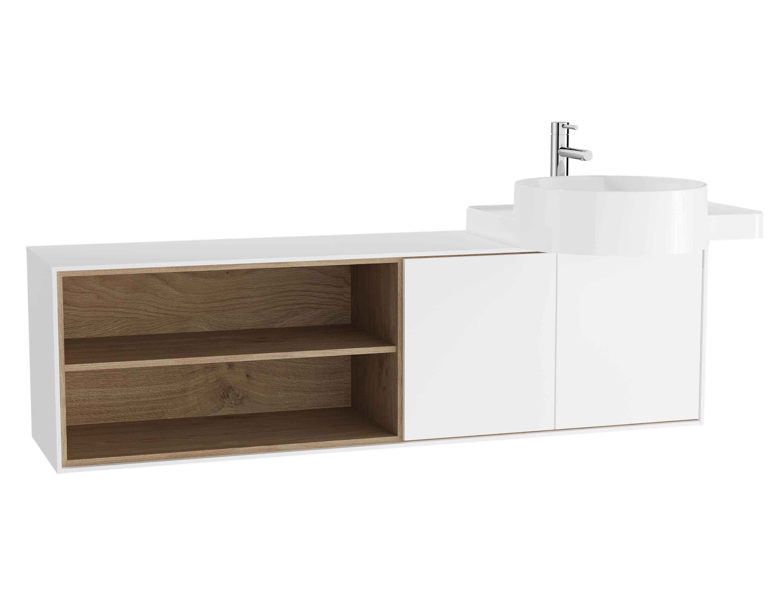 Voyage meuble sous vasque, 130 cm, blanc mat / chêne naturel, droite