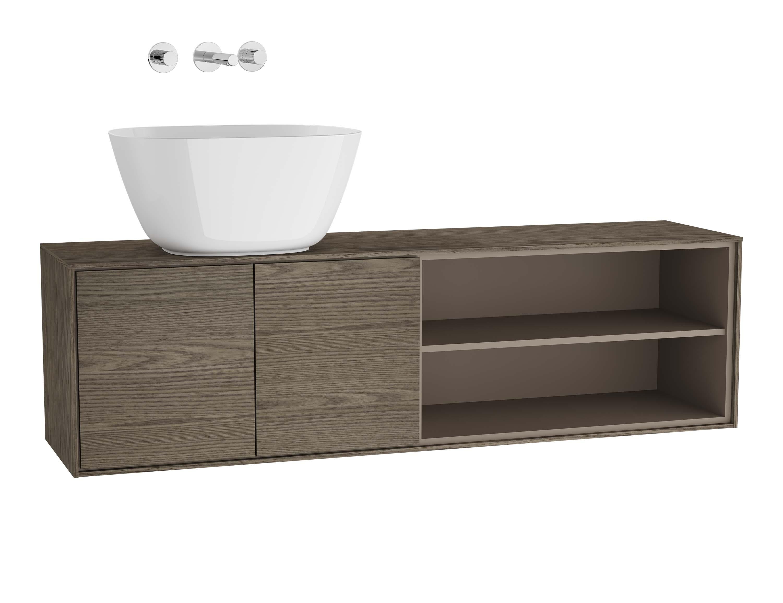 Voyage meuble sous vasque à poser, 130 cm, cordoba / taupe, gauche