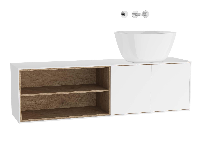 Voyage meuble sous vasque à poser, 130 cm, blanc mat / chêne naturel, droite