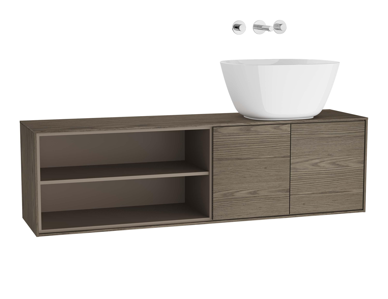 Voyage meuble sous vasque à poser, 130 cm, cordoba / taupe, droite