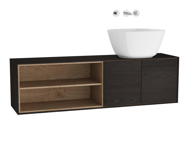 Voyage meuble sous vasque à poser, 130 cm, gris flambé / chêne naturel, droite