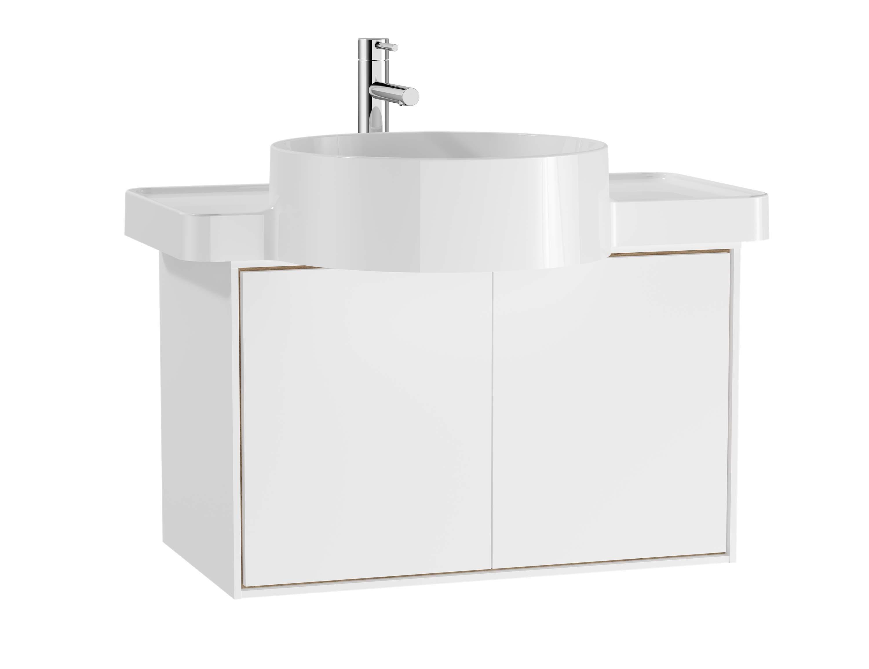 Voyage meuble sous vasque, 60 cm, blanc mat / chêne naturel