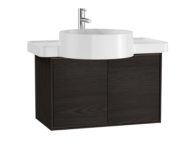 Voyage meuble sous vasque, 60 cm, gris flambé / chêne naturel