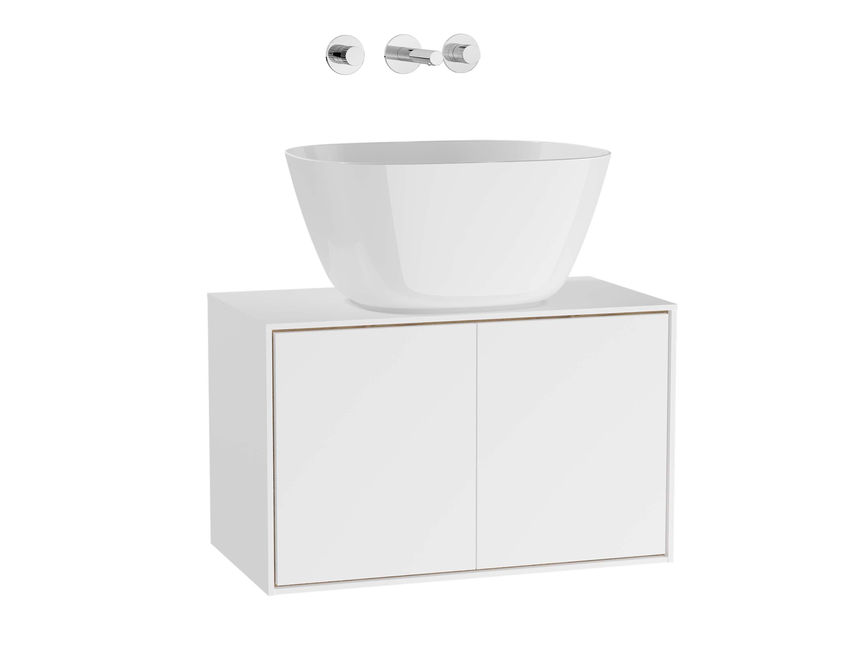 Voyage meuble sous vasque à poser, 60 cm, blanc mat / chêne naturel