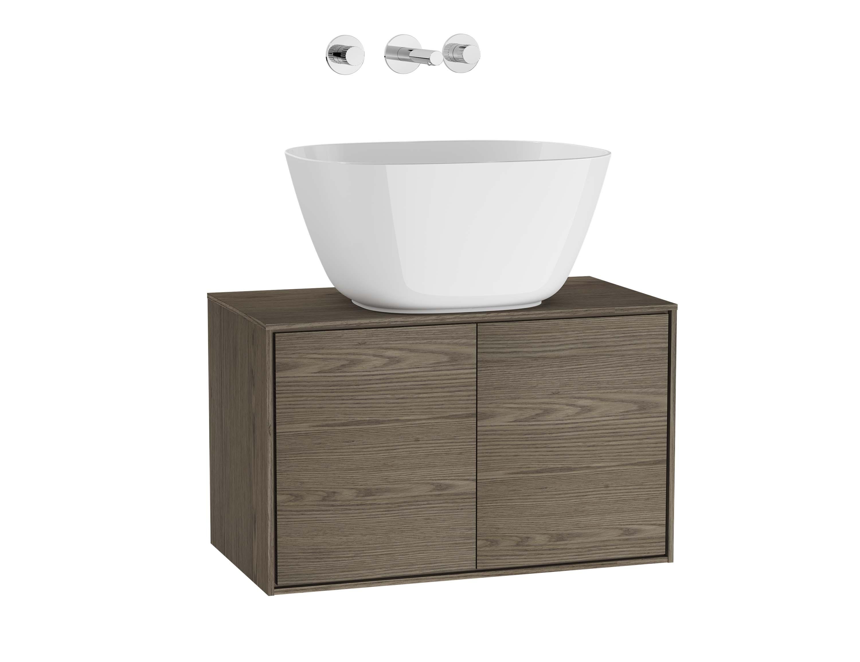 Voyage meuble sous vasque à poser, 60 cm, cordoba / taupe