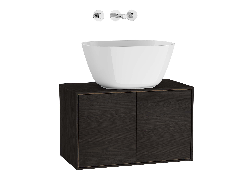 Voyage meuble sous vasque à poser, 60 cm, gris flambé / chêne naturel