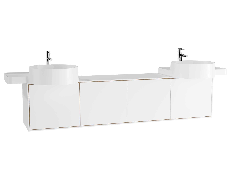 Voyage meuble sous vasque, 160 cm, blanc mat / chêne naturel