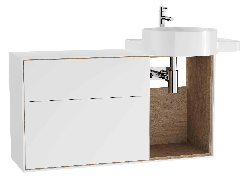 Voyage meuble sous vasque, 100 cm, blanc mat / chêne naturel, droite