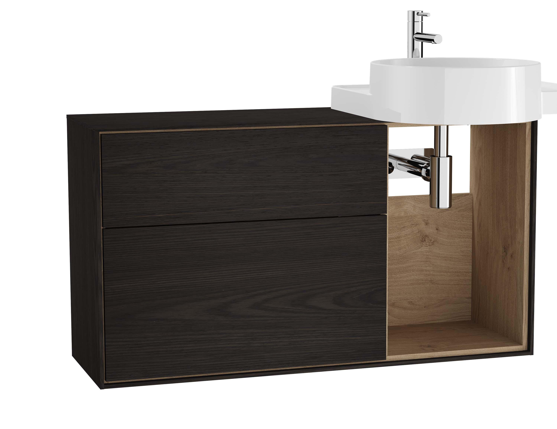 Voyage meuble sous vasque, 100 cm, gris flambé / chêne naturel, droite
