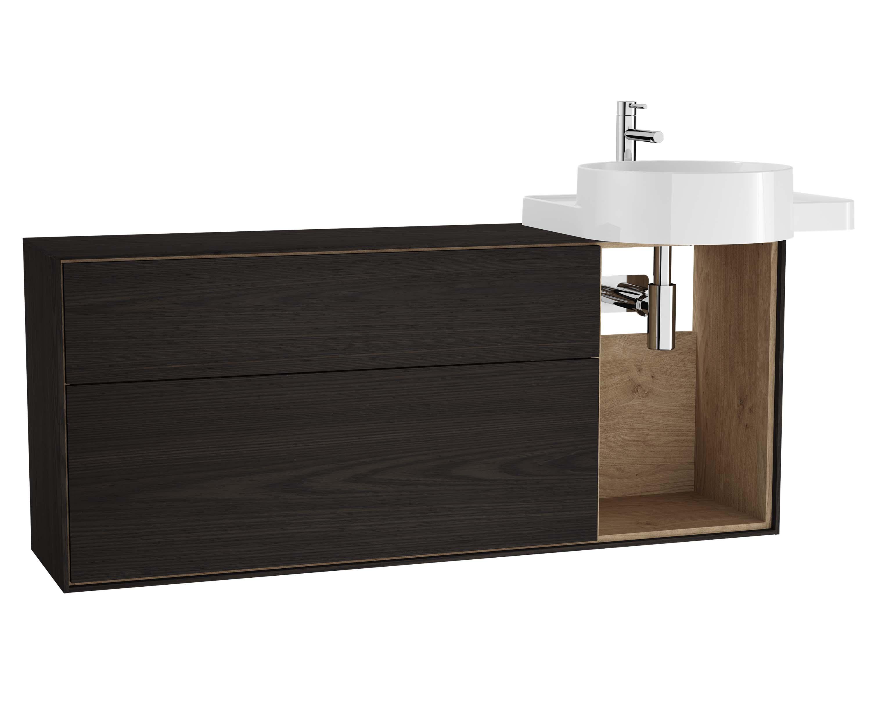 Voyage meuble sous vasque, 130 cm, gris flambé / chêne naturel, droite