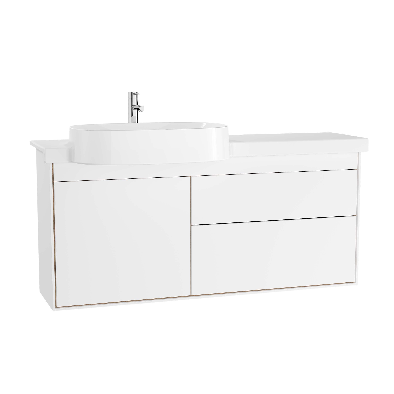 Voyage meuble avec plan céramique, 130 cm, blanc mat / chêne naturel
