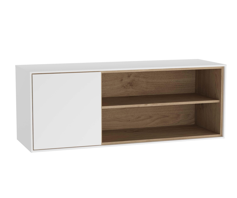 Voyage armoire basse, 100 cm, blanc mat / chêne naturel