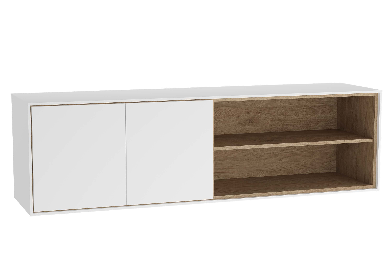 Voyage armoire basse, 130 cm, blanc mat / chêne naturel