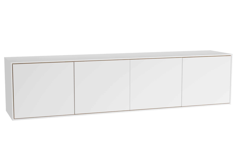 Voyage armoire basse, 160 cm, blanc mat / chêne naturel