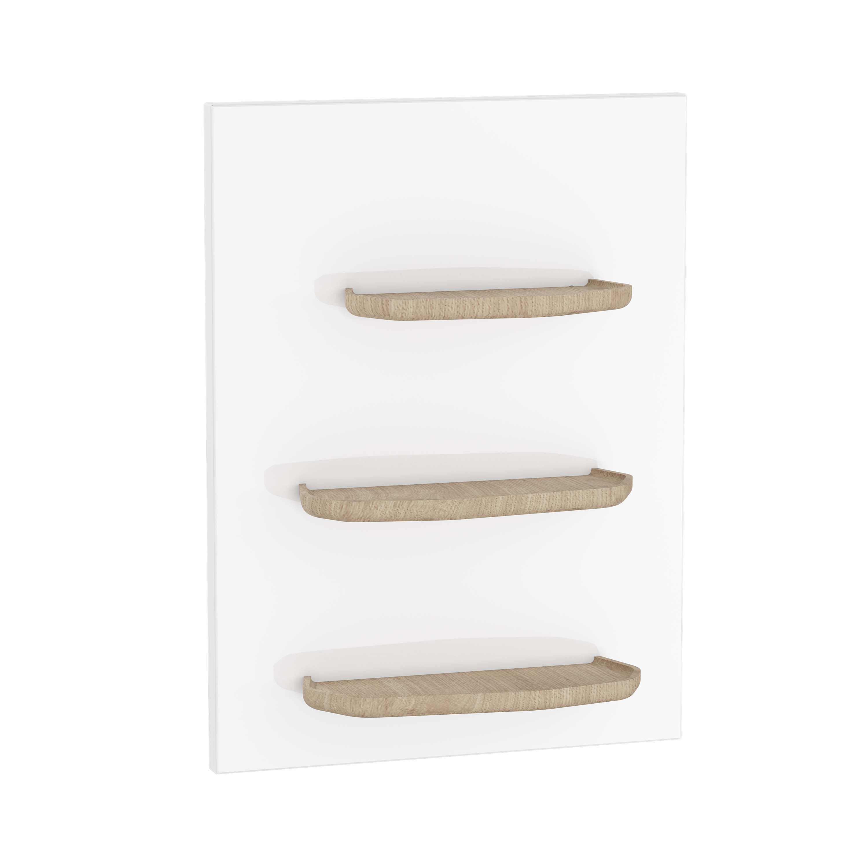 Voyage plateau, 45 cm, verre blanc / chêne