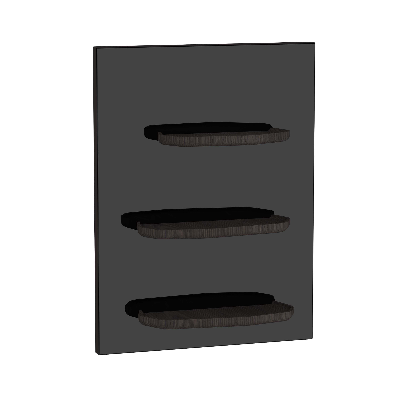 Voyage plateau, 45 cm, verre noir / chêne foncé