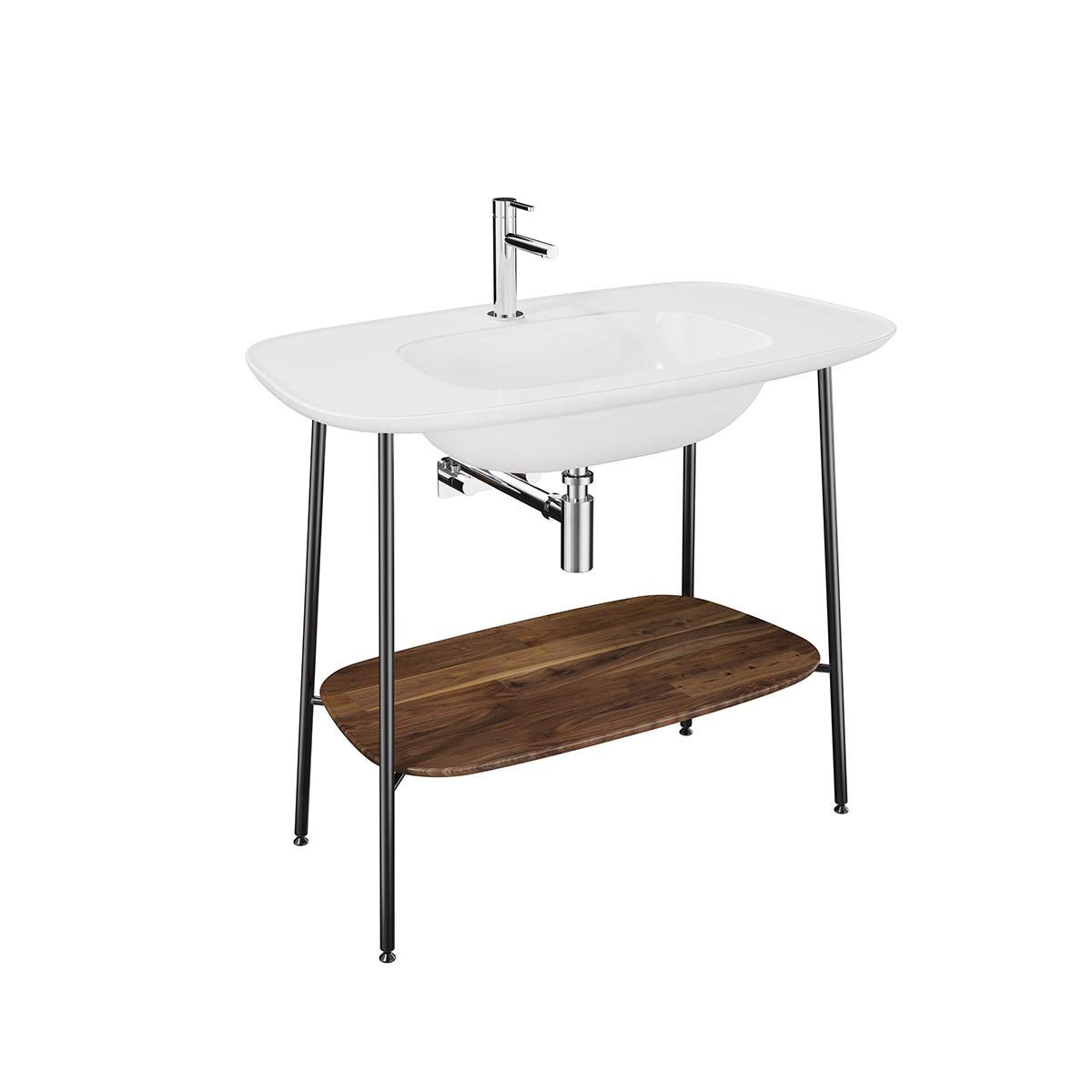 Plural Set, 100 cm, Waschtischunterbau + Möbelwaschtisch, Eiche dunkel Weiß Hochglanz