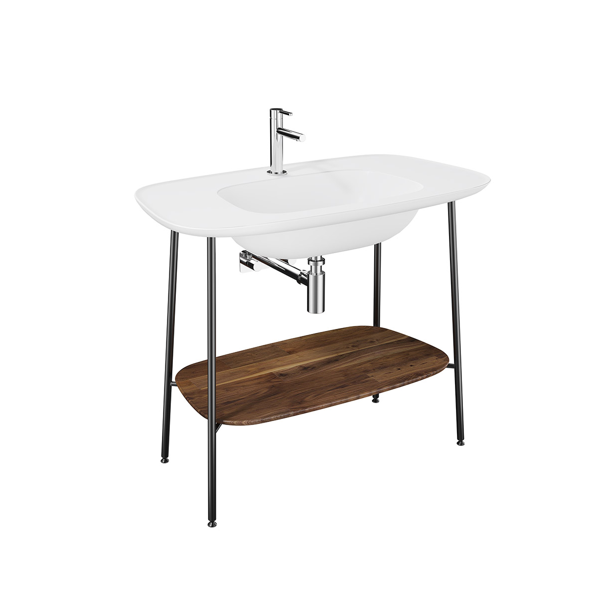 Plural Set, 100 cm, Waschtischunterbau + Möbelwaschtisch, Eiche dunkel Edelweiß