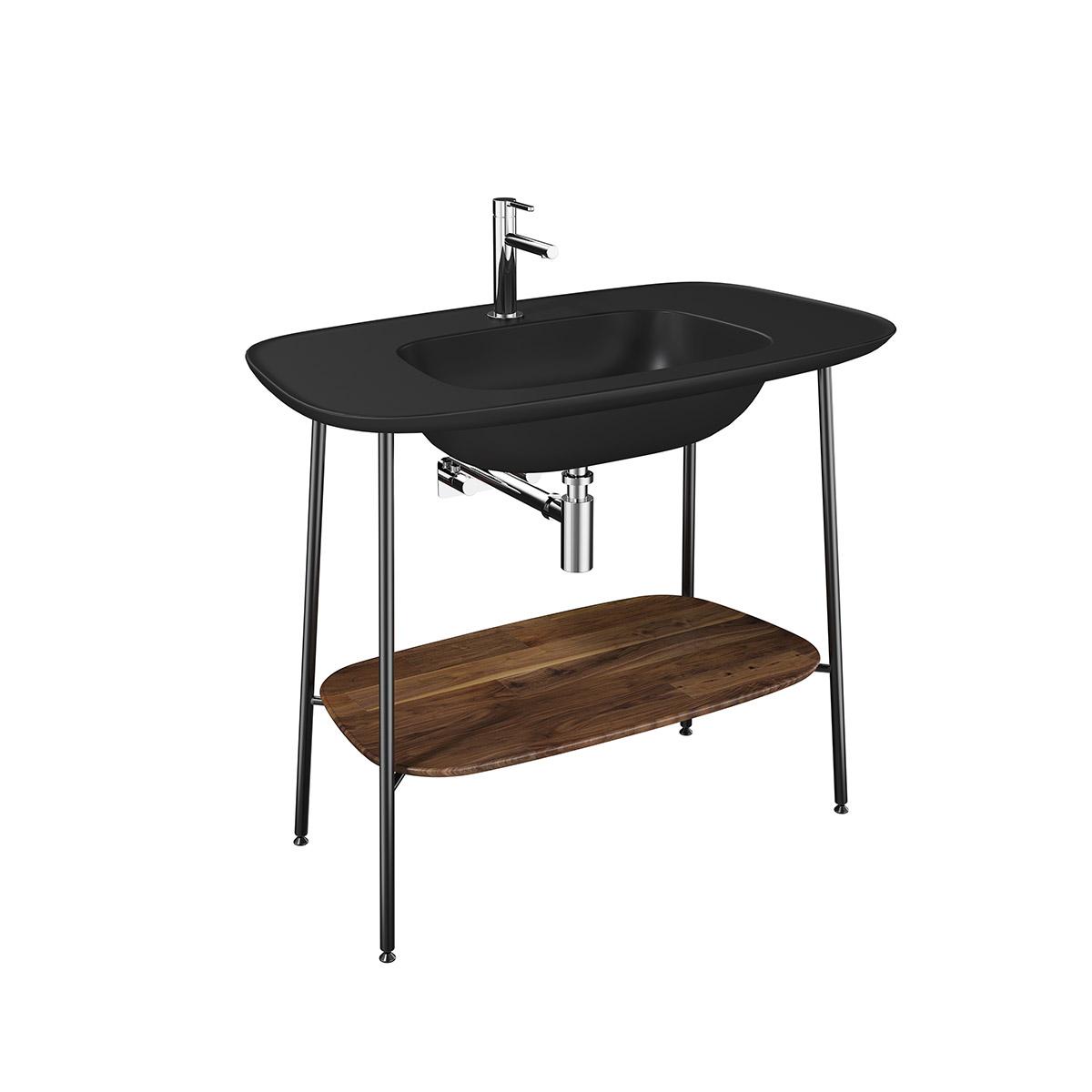 Plural Set, 100 cm, Waschtischunterbau + Möbelwaschtisch, Eiche dunkel Schwarz Matt
