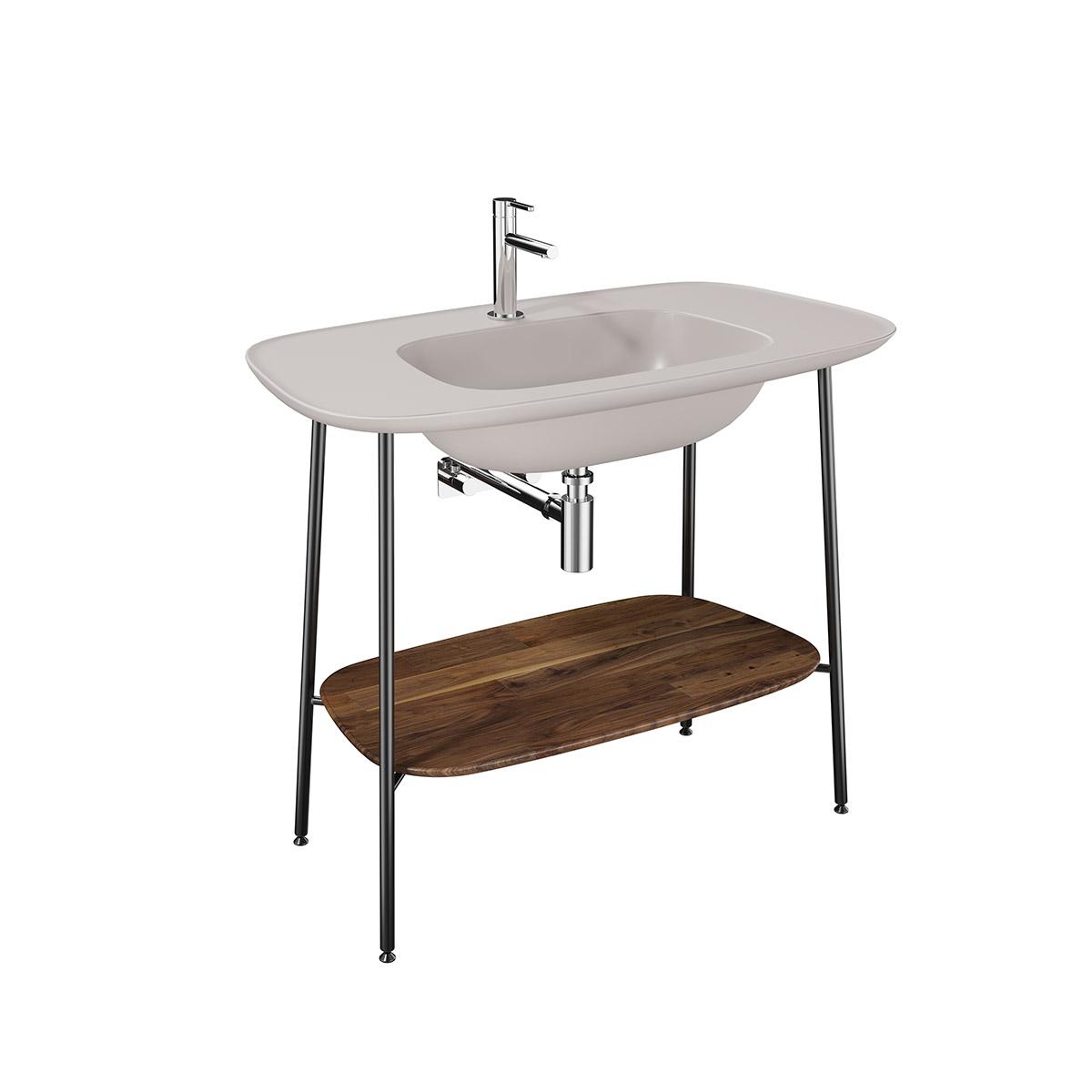 Plural Set, 100 cm, Waschtischunterbau + Möbelwaschtisch, Eiche dunkel Taupe Matt