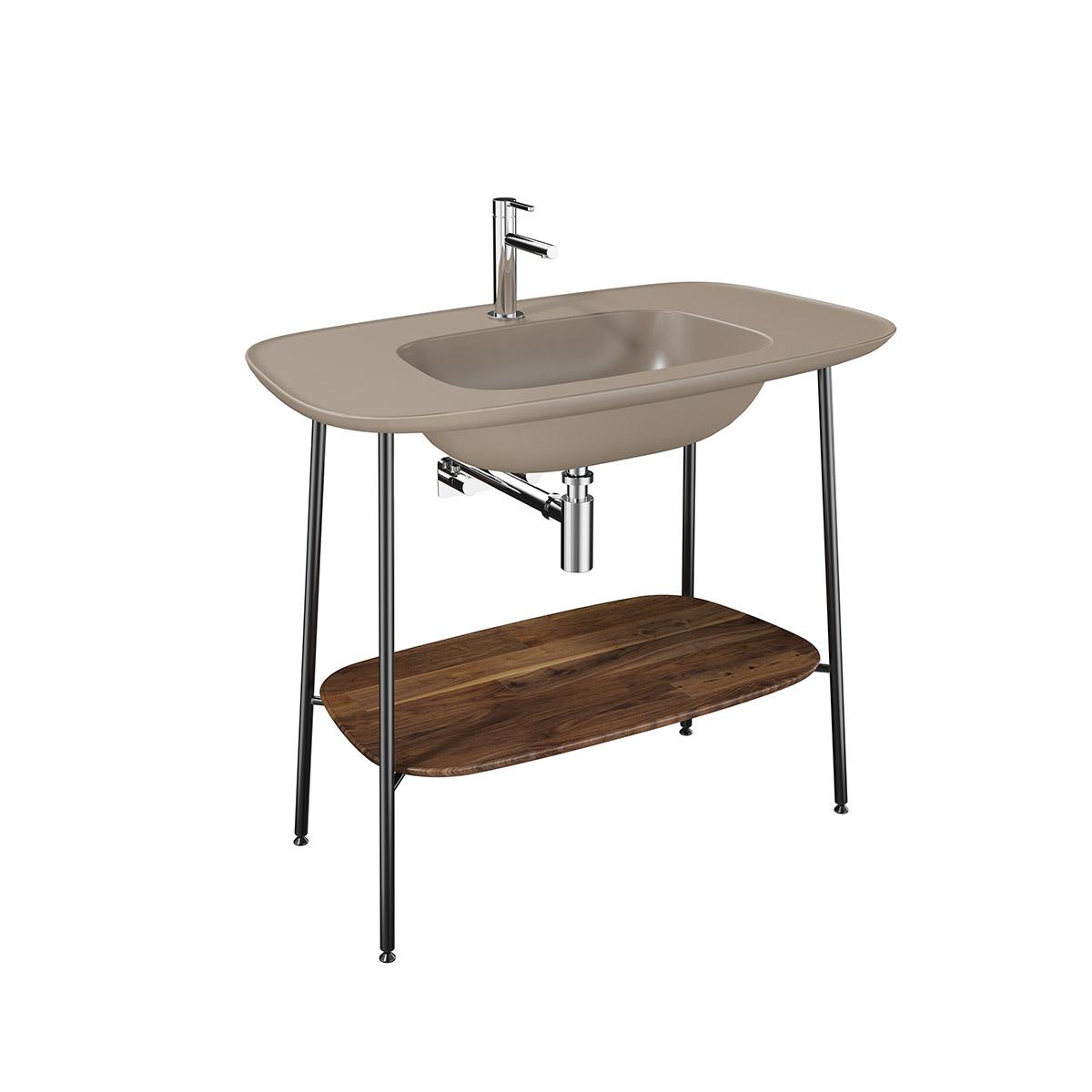 Plural Set, 100 cm, Waschtischunterbau + Möbelwaschtisch, Eiche dunkel Nerz Matt