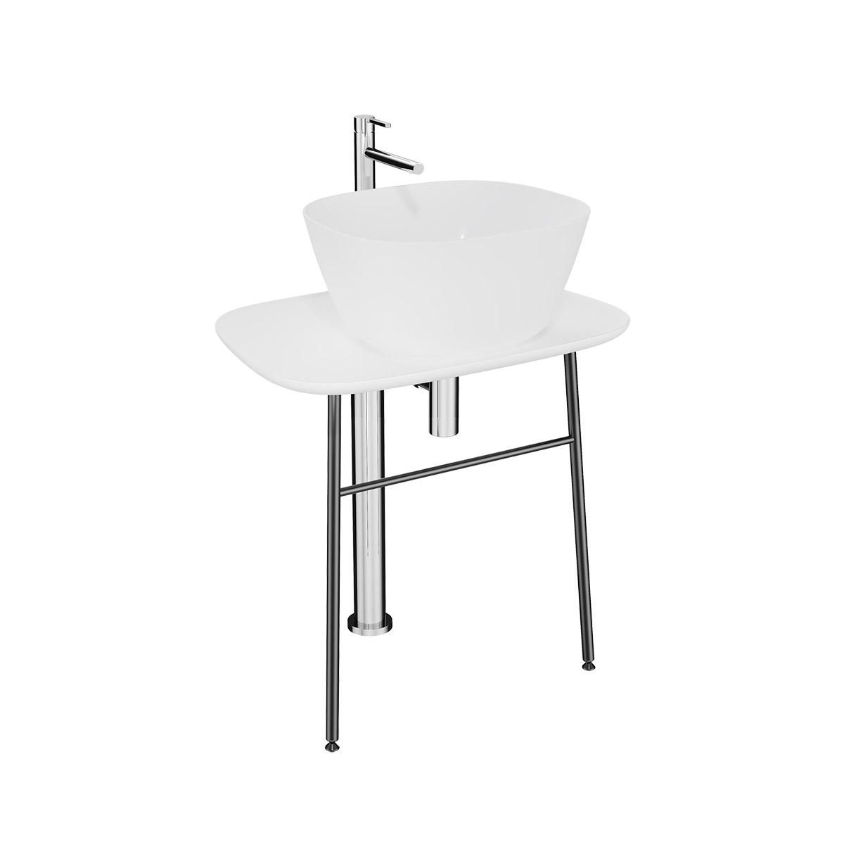 Plural Waschtischunterbau flach freistehend, Höhe 66 cm, Weiß Hochglanz