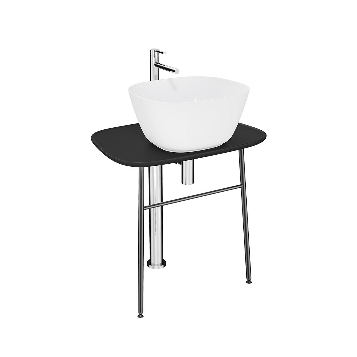 Plural Waschtischunterbau flach freistehend, Höhe 66 cm, Schwarz Matt