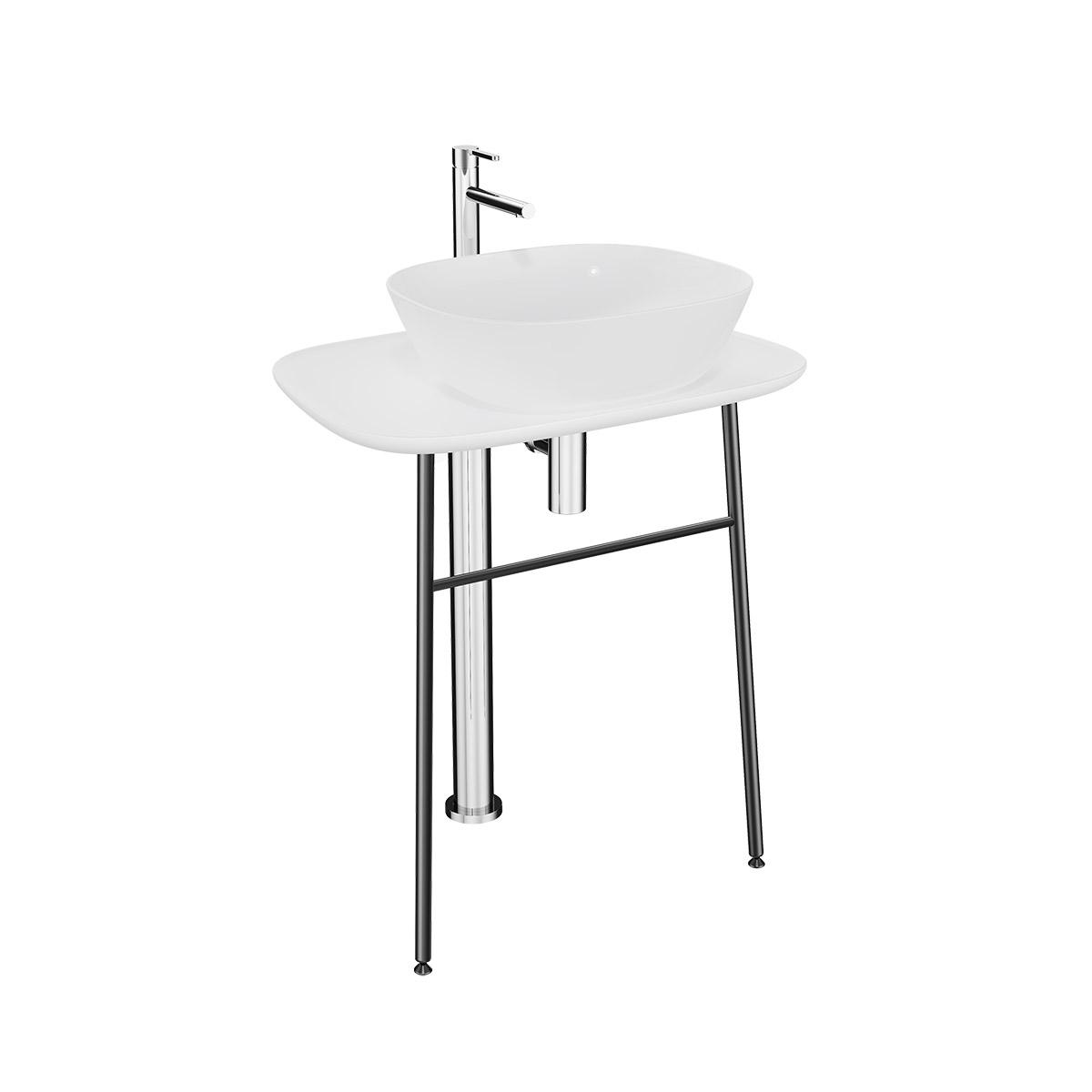 Plural Waschtischunterbau hoch freistehend, Höhe 74 cm, Weiß Hochglanz