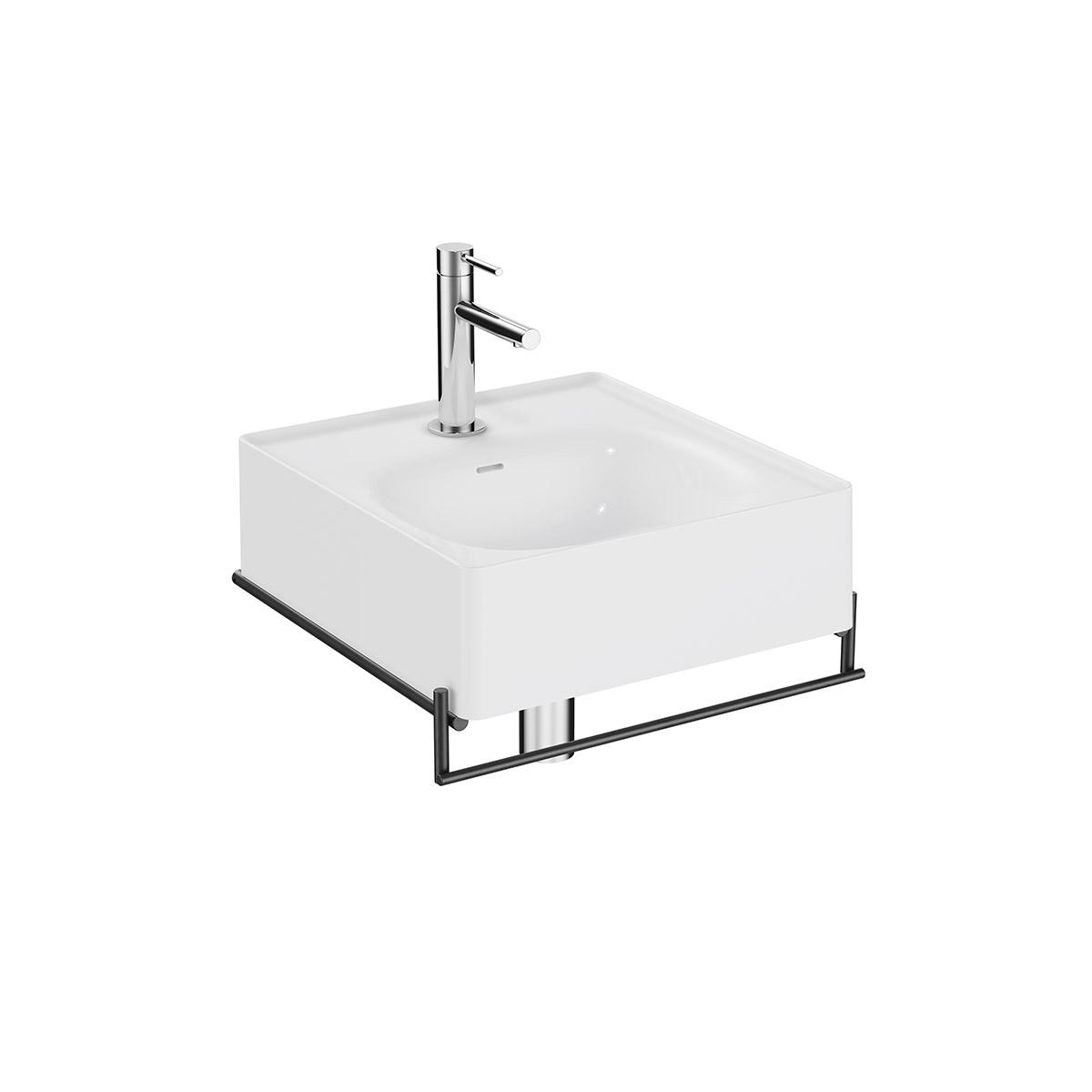 Equal Set Handwaschbecken, 43 cm, mit Handtuchhalter, Weiß Hochglanz/Schwarz Matt
