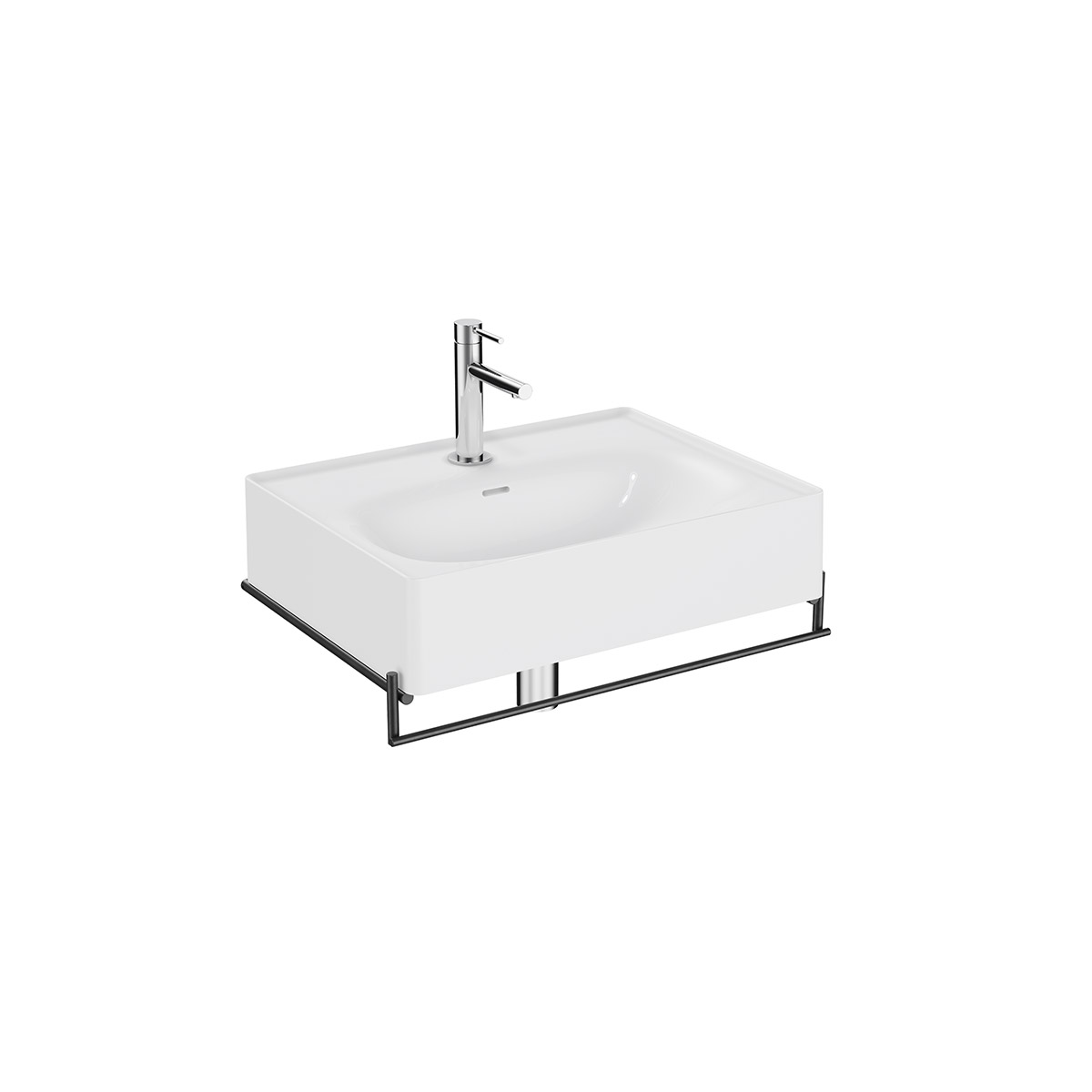 Equal Set Waschtisch, 60 cm, mit Handtuchhalter, Weiß Hochglanz/Schwarz Matt