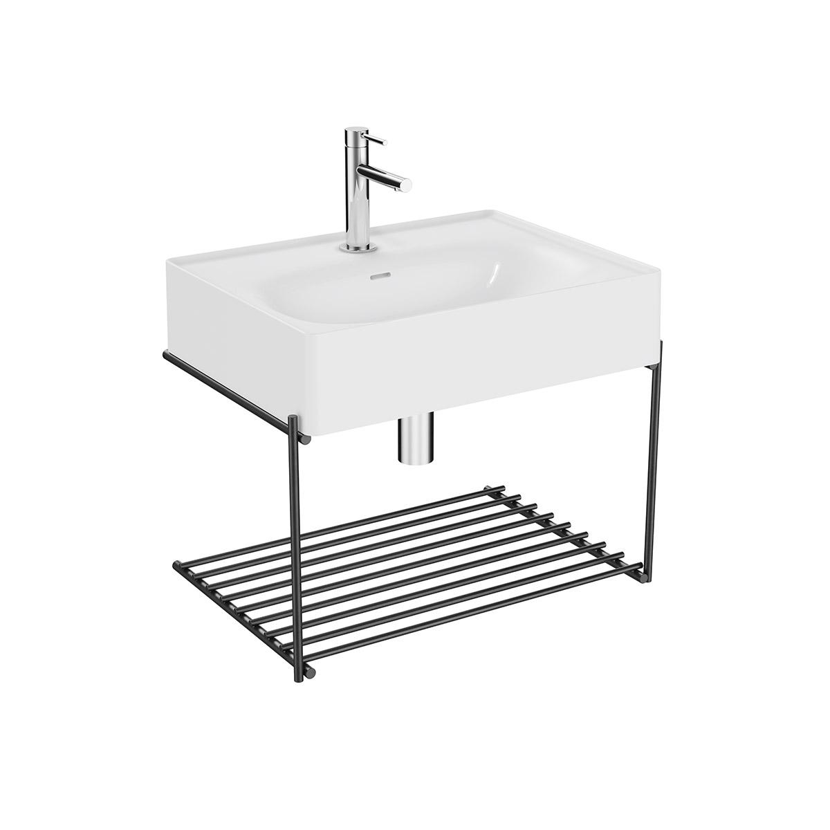 Equal Set Waschtisch, 60 cm, mit Ablagegitter, Weiß Hochglanz/Schwarz Matt