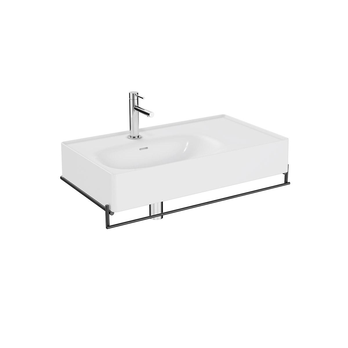 Equal Set Waschtisch asymmetrisch, 80 cm, mit Handtuchhalter, Weiß Hochglanz/Schwarz Matt