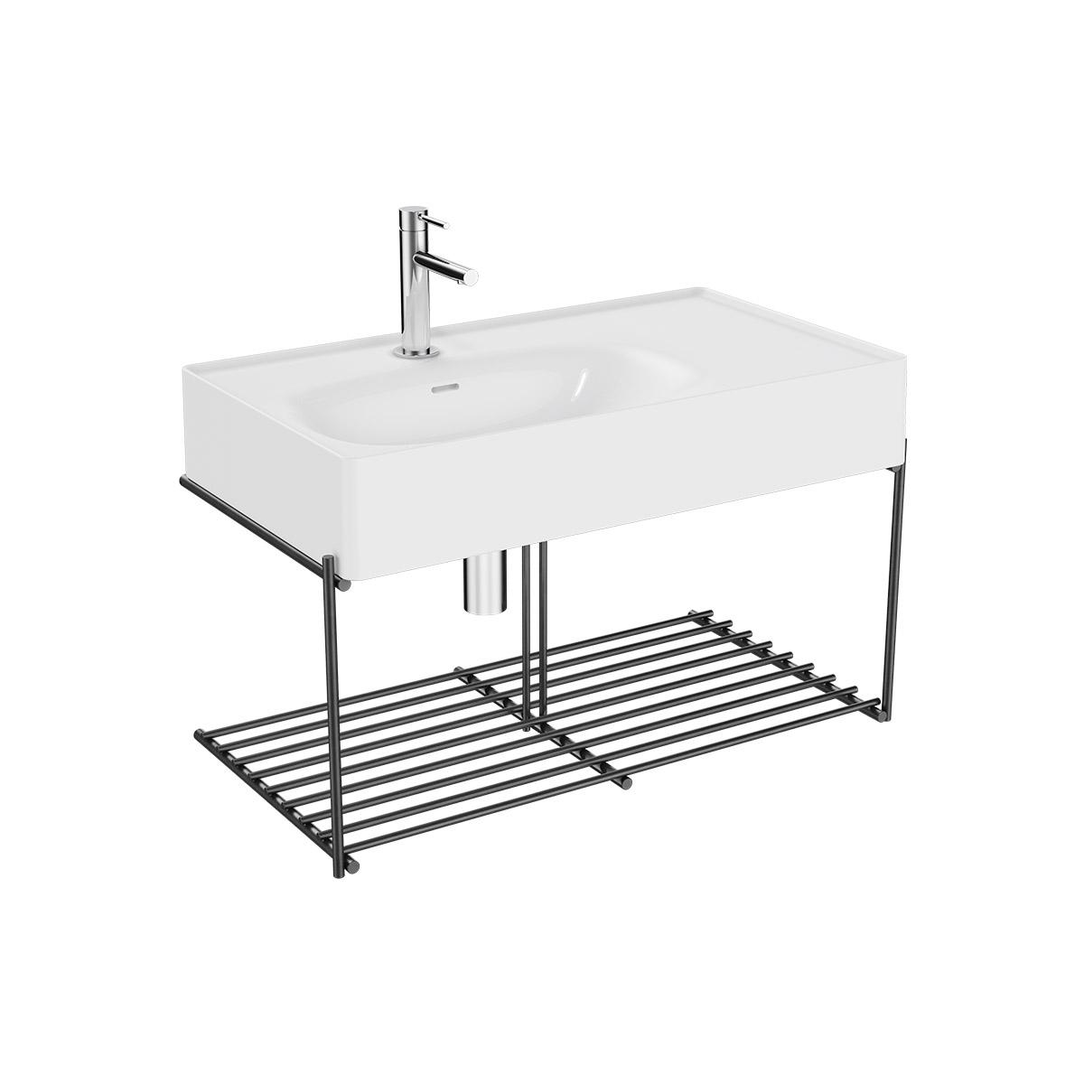 Equal Set Waschtisch asymmetrisch, 80 cm, mit Ablagegitter, Weiß Hochglanz/Schwarz Matt